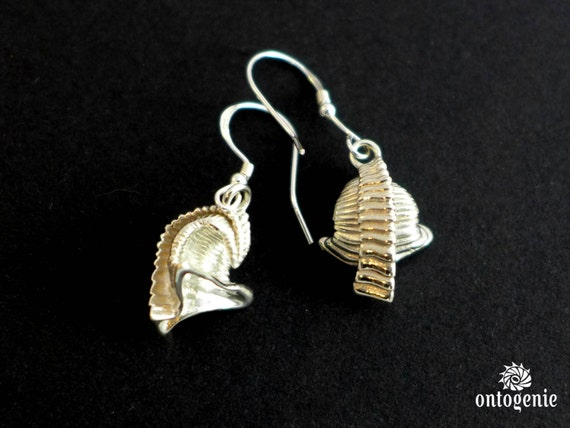 SALE - 25% OFF -Small Shelly Fossil - Dailyatia earrings in silver or bronze - paleontology - science jewelry