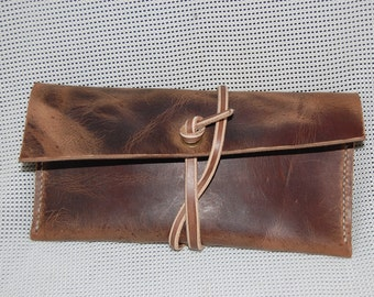 Handmade 100%  Supple oiled Bull Hide Leather Clutch - Leather Pouch-  Gifts for him - Gifts for her