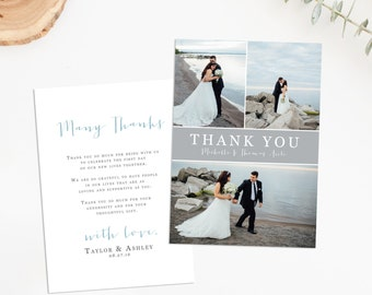 Wedding Thank You Card, Wedding Thank You Postcard, Wedding Photo Thank You, Wedding Thank You