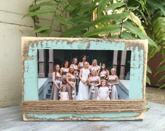 Distressed Frame, Mint, 4x6 Wood Block Frame, Rustic Frame, Horizontal Photo, Twine