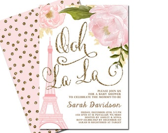 Paris Baby Shower Invitation, Eiffel Tower French Shower Invitation, Paris  Themed Invitation, Pink