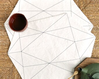 Modern geometric placemats – natural cotton canvas fabric with black stitching – set of 2