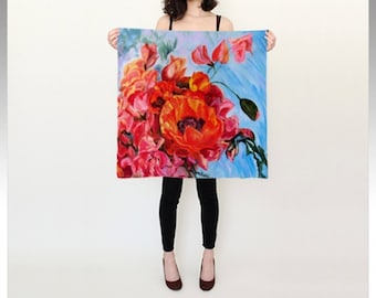 """Poppies and Sweet Peas Square Silk Scarf (26"""" or 36"""") is a digital reproduction of an original acrylic painting by Kris Noble, """"Vertigo"""""""