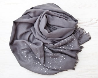 Pashmina Scarf with Rhinestones Gray Fashion Scarf Valentines Day Gift Large Women Scarf Mothers Day Gift Wrap Scarf Girlfriend Gift