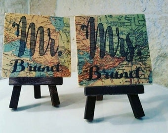 Travel theme wedding,  custom map locations Mr and Mrs sweetheart table sign, , Travel theme decor, anniversary gift