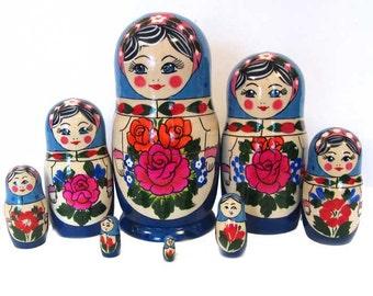 Nesting dolls Traditional Blue - kod27b