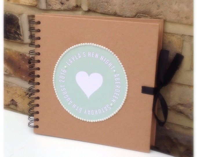Personalised Scrapbook Hen Do | Weddings | Photo's | Memories | Guest book | Journal for Bride's available in any colour design, hard back