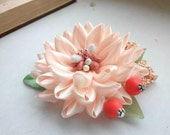 Kanzashi hair clip/Kanzashi flower/Hair clip for girls/Head accessories/Hair flower clip/Orange flower