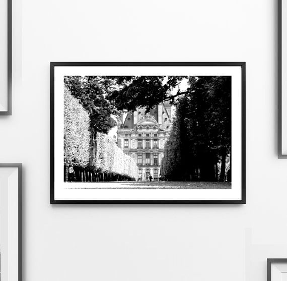 Paris print black and white photograph wall art home decor for Black and white paris wall mural