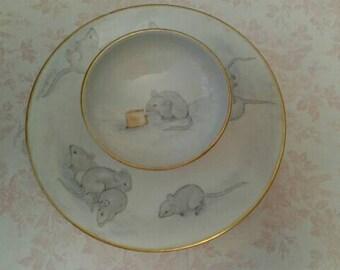 Vintage 2 Tiered Porcelain Snack Tray, Limoges France T & V