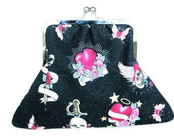 Dark Valentine Black, Red and Pink Heart, Skull and Roses Fabric Silver Metal Frame Clasp Clutch and Fabric Button Earring Set