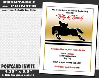 Kentucky Derby Equestrian Party Invitation, Printable with Printed Option, Horse Racing Party