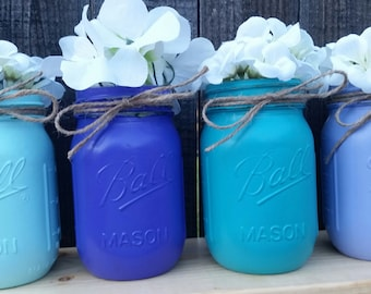 Purple and Teal Baby Shower-Distressed Purple and Teal Mason Jars- Baby Shower Decor- Birthday Party Decor-Bridal Shower Purple Teal Decor