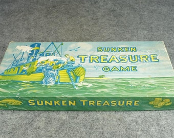 Parker Brothers Sunken Treasure Board Game All Pieces C. 1948