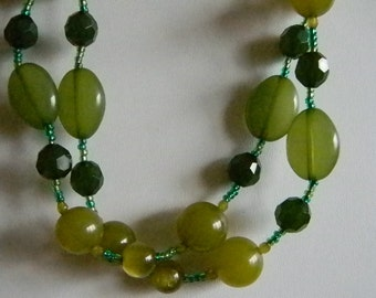 Gold Dark/ Lime Green Beaded  Necklace