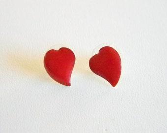 Small Red Enamel Heart Shaped Pierced Earrings