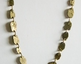 Gold Tone Flat Nugget Collar Necklace