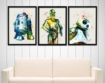 Star Wars Poster set - BB8, R2D2, C3PO