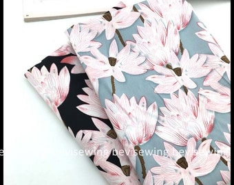 1/2 yard Lotus Flower Pattern Cotton Fabric, Quilting Fabric, 100% Quality Cotton Cloth/Width: 140cm
