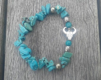 """Bracelet """"Bull and blue rocks"""""""