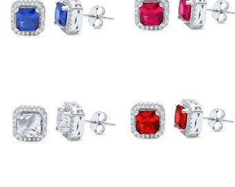 ER4772 princess Cut multi color Cubic Zirconia .925 Sterling Silver stud Earrings sparkle and fire! free world wide shipping lowest price