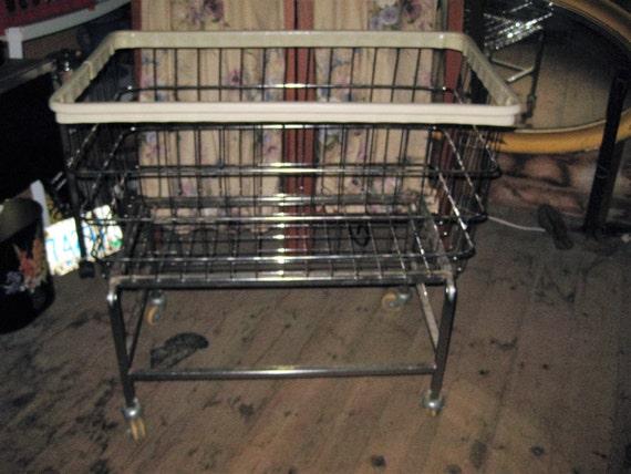 Vintage 1950'S Industrial Metal Laundry Cart On Wheels