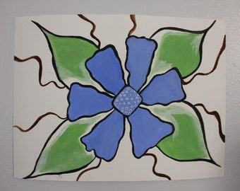 Blue and Green Floating Flower