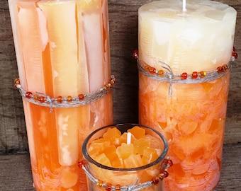Recycled Wax Orange Candle Set
