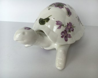 Hammersley Victorian Violets Turtle Box, trinket box, jewelry box, Spode, Made in England, Member of Spode Group, Bone China