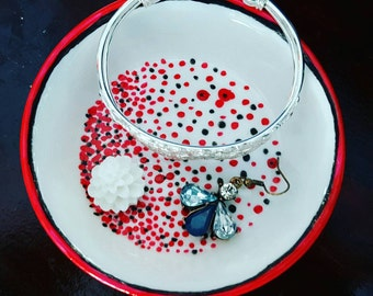 Red and black hand painted jewelry dish