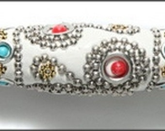 Kashmiri White with Red Stones 60mm Tibet Tube Bead