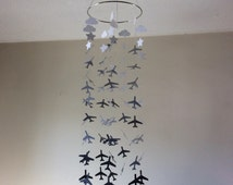 Grey ombre AIRPLANE Crib Mobile. Airplane, CLOUDS and STARS hanging paper mobile! Baby nursery mobile,  Teen/Tween mobile. Birthday decor