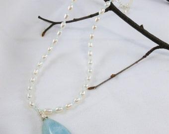 Aquamarine pendant necklace,Bridal Pearl necklace,Bridal necklace,Bridesmaid necklace,March Birthstone,Anniversary gemstone, teardrop pendan