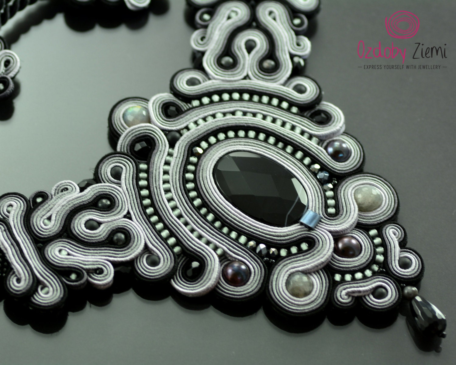 Soutache Necklace Kelabu, Will Add Glamour To Any Outfit Very Elegant,  Effective,