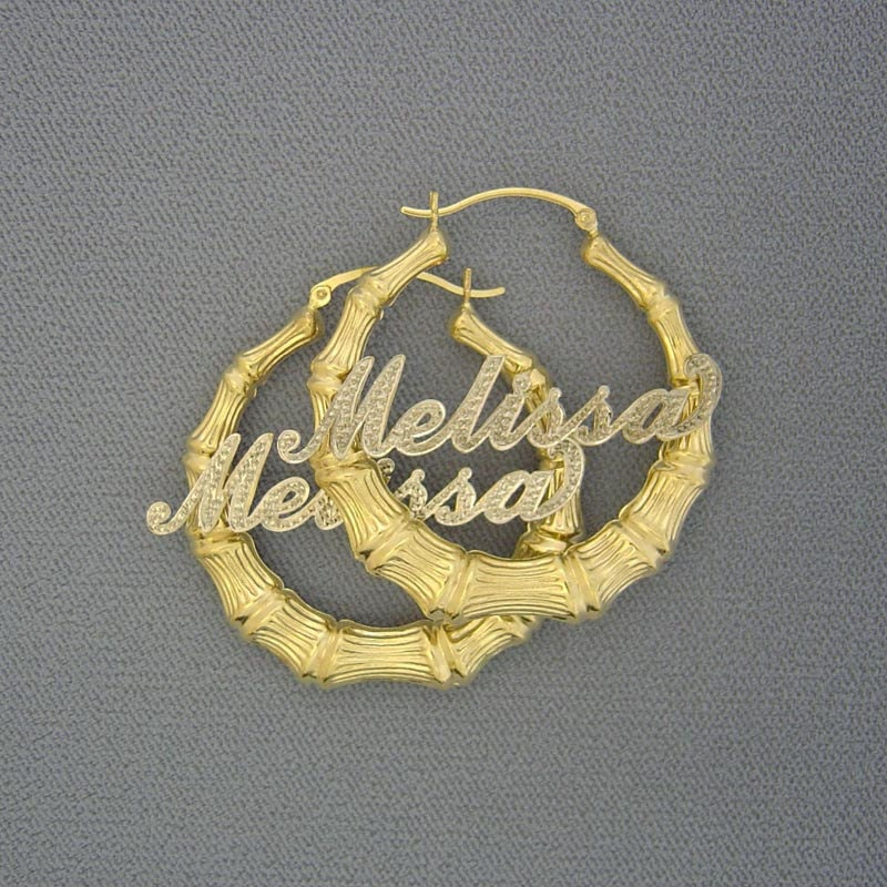 10k Or 14k Two Tone Gold Personalized Diamond Accent Name