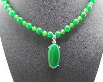 Handmade Green Jade beaded  necklace with exquisite Green Jade pendant.