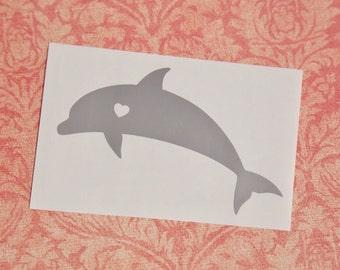 Dolphin w/ Heart Car Laptop Vinyl Decal Sticker