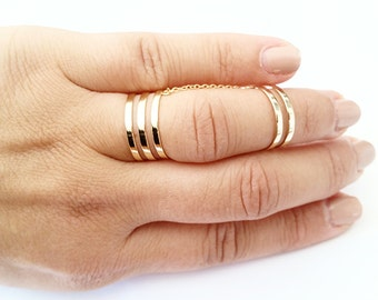 SALE 10% Double linked band ring, gold vermeil, 925 sterling silver