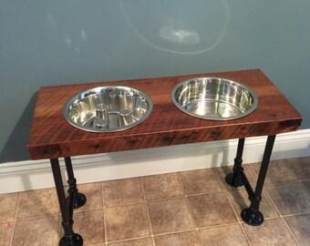 Slow Feed Reclaimed Barn Wood Dog Bowl Feeder