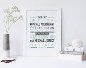 "Proverbs 3:5-6 - Bible Verse Art Scripture Typography print Bible ""Trust in the Lord with all your heart, and lean not on your own..."""