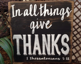 GIVE THANKS distressed rustic shabby chic urban farmhouse wooden handpainted sign wall art