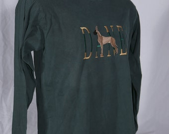 Embroidered Fawn Great Dane long sleeve blue spruce t-shirt size Small