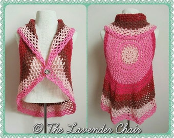 Pocket Full of Posies Vest Crochet Pattern *PDF FILE DOWNLOAD* Instant Download