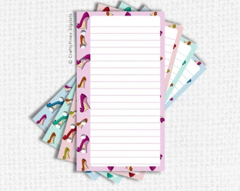 Personal Planner Inserts - Printable Notes Page with hand drawn ladies' shoes design in 4 different color schemes [D161012-10]