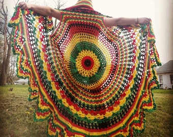 Rasta Bohemian Crocheted Vest With Hood