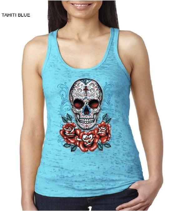 Skull - Sugar Skull - Calavera - Day Of The Dead -Burnout Racerback Tank -Racerback Tank -Wo<a href=