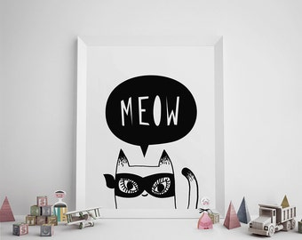 Printable Art, Kids Room Decor, Black and White Print, Superhero Cat Illustration, Meow, Scandinavian, Simple Print, Typography, Nursery Art