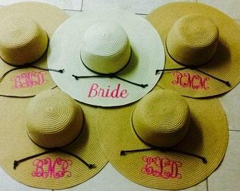bridal sunhats, wedding party, monogrammed bridal sunhats, bridal gifts, monogrammed sunhats, set of 5