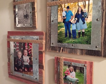 Barnwood Picture Frame- Barnwood, Tin & Burlap Photo Frame