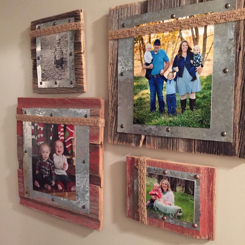 Barnwood decor barnwood tin burlap photo frame for Barnwood decor